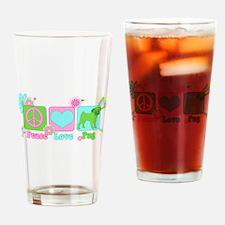 Peace Love Pug Drinking Glass