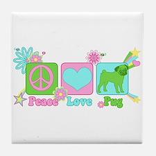 Peace Love Pug Tile Coaster
