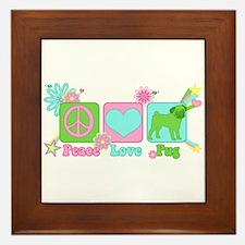 Peace Love Pug Framed Tile
