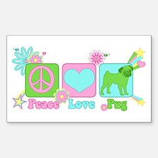 Peace Love Pug Sticker (Rectangle)