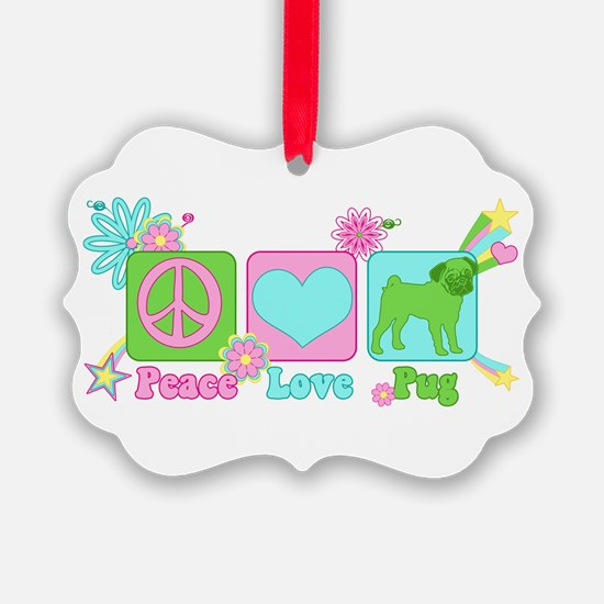 Peace Love Pug Ornament