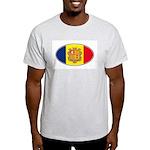 Andorran Oval Flag Ash Grey T-Shirt