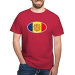 Andorran Oval Flag Dark Red T-Shirt