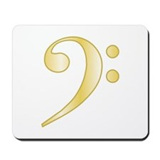 """Gold"" Bass Clef Mousepad"