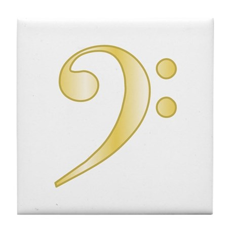 """""""Gold"""" Bass Clef Tile Coaster"""