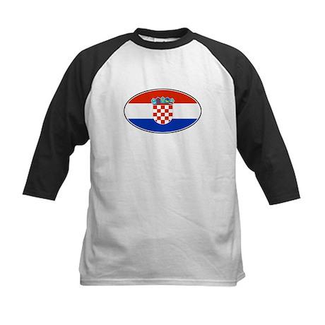 Croatian Oval Flag Kids Baseball Jersey