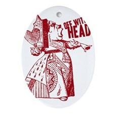 Red Queen Off With Her Head Ornament (Oval)