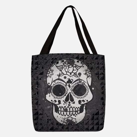 Black and white skull Polyester Tote Bag
