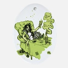 Alice Drinks Absinthe Now Ornament (Oval)