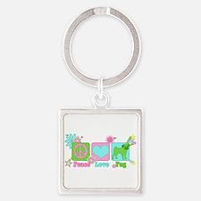Peace Love Pug Square Keychain