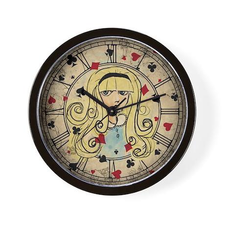 Watercolor Alice Dark Wall Clock