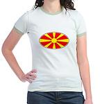 Macedonian Oval Flag  Jr. Ringer T-Shirt