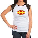 Macedonian Oval Flag  Women's Cap Sleeve T-Shirt