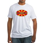 Macedonian Oval Flag  Fitted T-Shirt