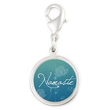 Namaste Silver Round Charm