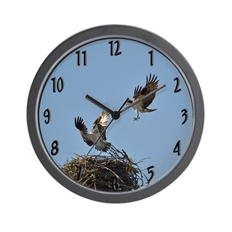 Osprey fighting Wall Clock