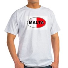 Maltese Oval Flag Ash Grey T-Shirt