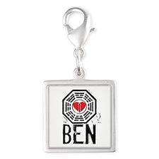 I Heart Ben - LOST Silver Square Charm