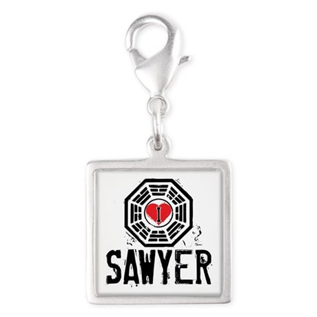 I Heart Sawyer - LOST Silver Square Charm