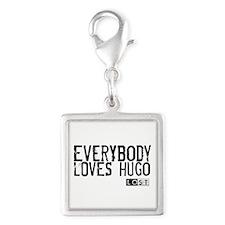 Everybody Loves Hugo Silver Square Charm