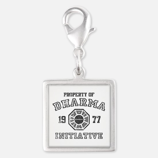 Property of Dharma Distresses Silver Square Charm