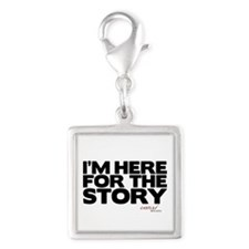 I'm Just Here for the Story Silver Square Charm