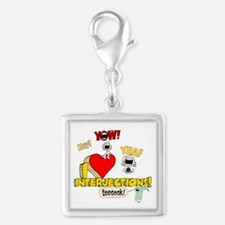I Heart Interjections Silver Square Charm