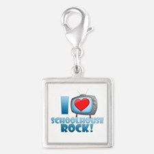 I Heart Schoolhouse Rock Silver Square Charm