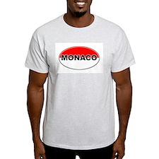Monaco Oval Flag Ash Grey T-Shirt