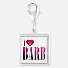 I Heart Barb Silver Square Charm