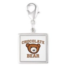 Chocolate Bear Silver Square Charm