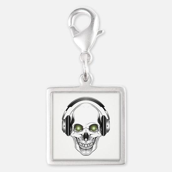 Green Eye DJ Skull Silver Square Charm