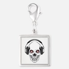 Red Eye DJ Skull Silver Square Charm