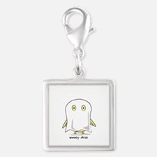 Spooky Chick Silver Square Charm