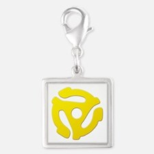 Yellow 45 RPM Adapter Silver Square Charm