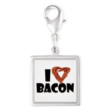 I Heart Bacon Silver Square Charm