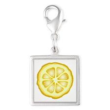 Lemon Slice Silver Square Charm