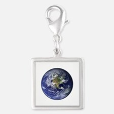 Western Earth from Space Silver Square Charm