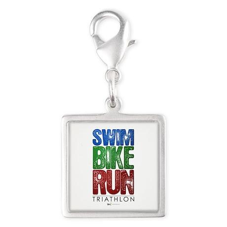 Swim, Bike, Run - Triathlon Silver Square Charm