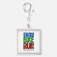 Swim, Bike, Run - Triathlon Silver Square Charm