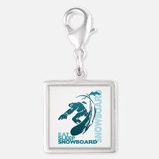 Eat Sleep Snowboard Silver Square Charm