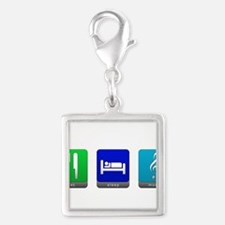 Eat, Sleep, Music Silver Square Charm