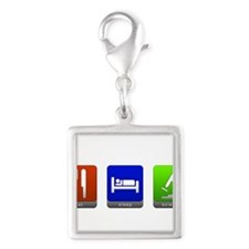 Eat, Sleep, Science Silver Square Charm