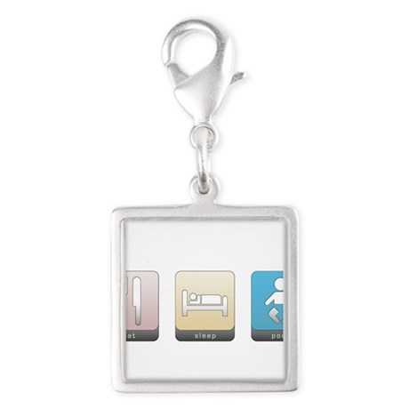 Eat, Sleep, Poop Silver Square Charm