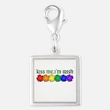 Pride Kiss Me I'm Irish Silver Square Charm