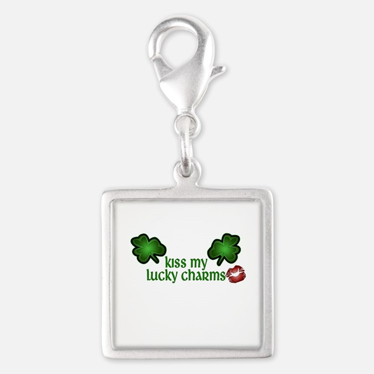 Kiss My Lucky Charms Silver Square Charm