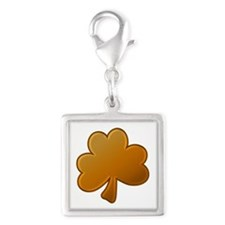 Lucky Orange Clover Silver Square Charm