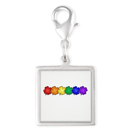 Shamrock Rainbow Pride Silver Square Charm