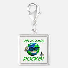 Recycling Rocks! Silver Square Charm