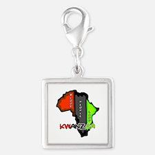 Kwanzaa Africa Silver Square Charm